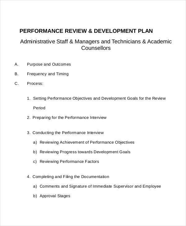 performance review development plan