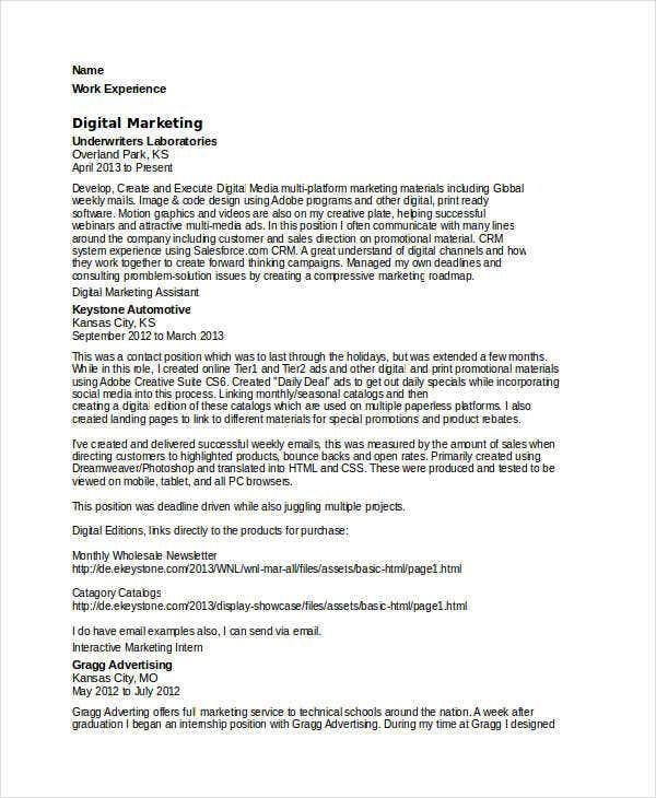digital marketing assistant resume3