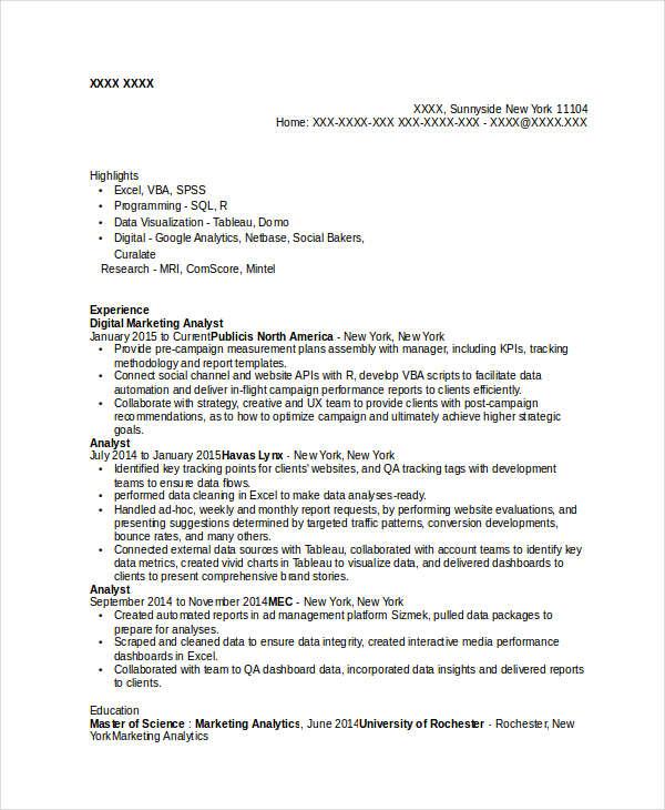 Modern Marketing Resumes 32 Free Word PDF Documents Download