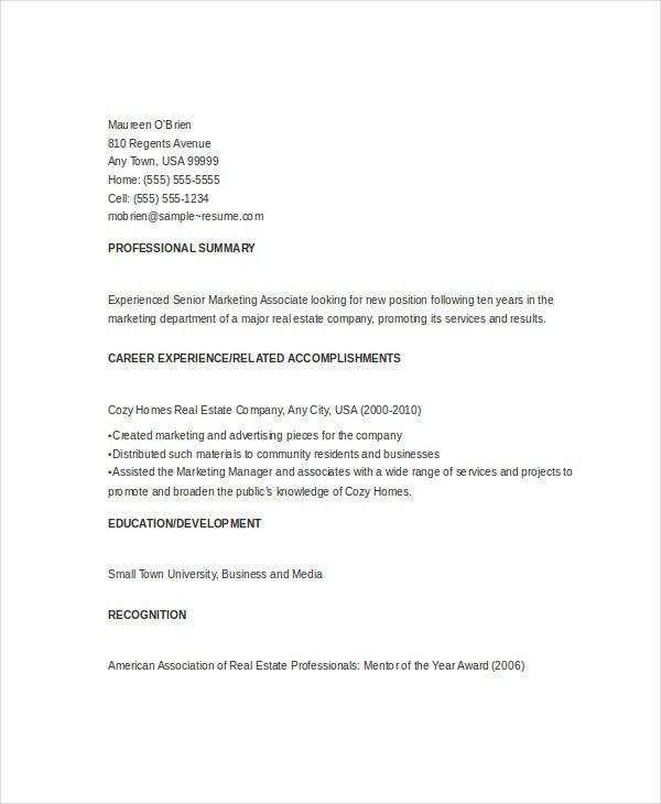 senior marketing associate resume3