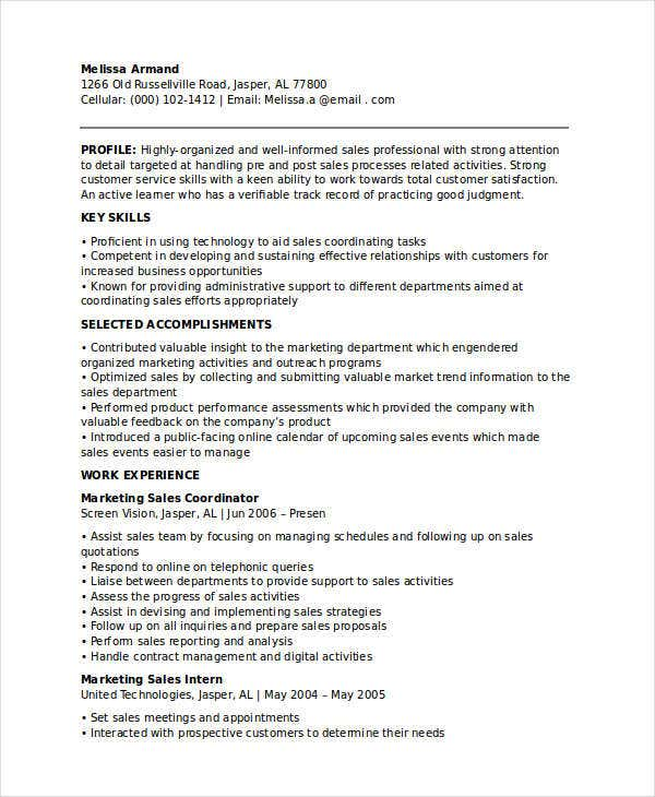 marketing and sales coordinator resume
