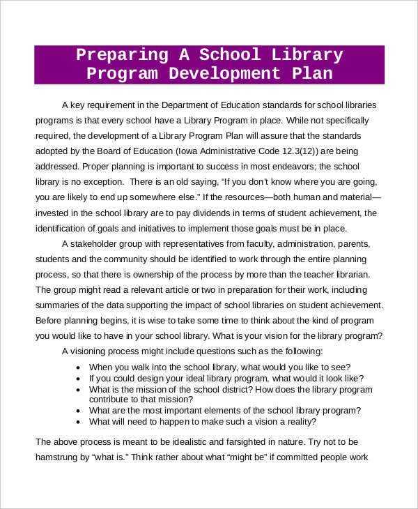 school library development plan