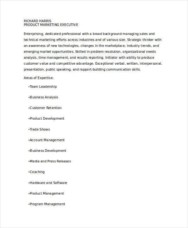 marketing engineer resume format