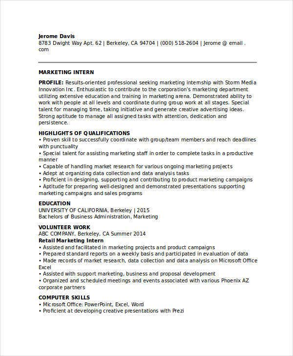 Marketing Student Internship Resume  Marketing Internship Resume