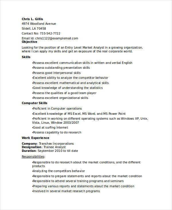 entry level marketing analyst resume1