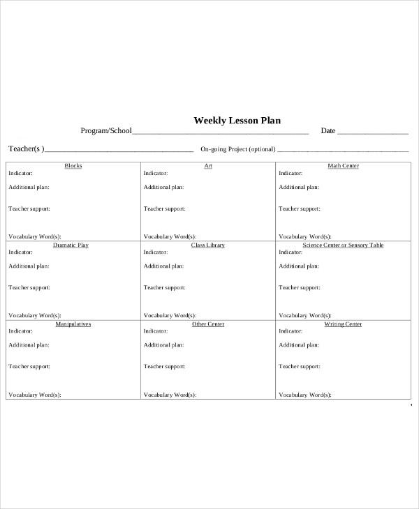 teacher weekly lesson plan1