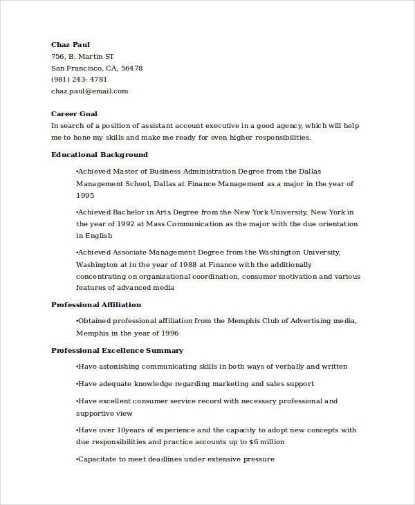 assistant account executive resume3