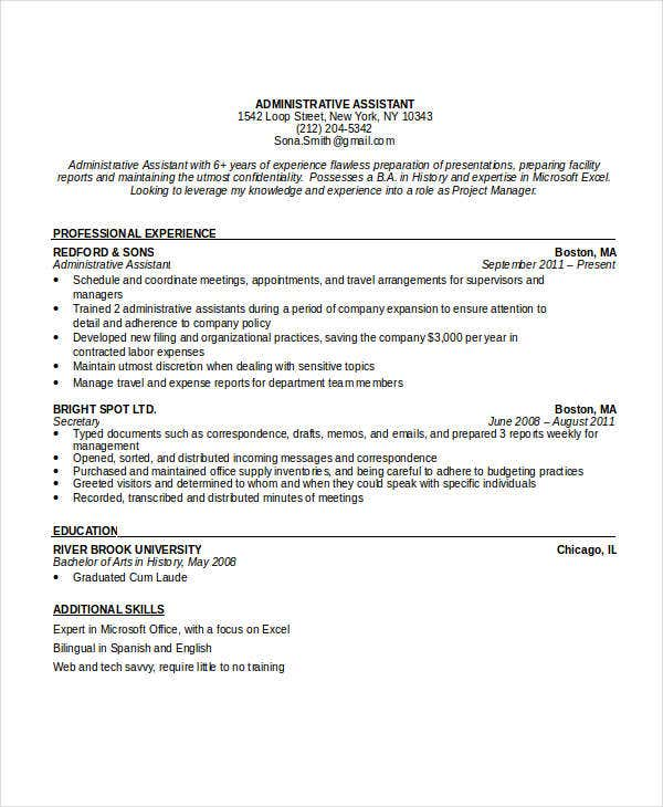 administrative executive assistant resume5