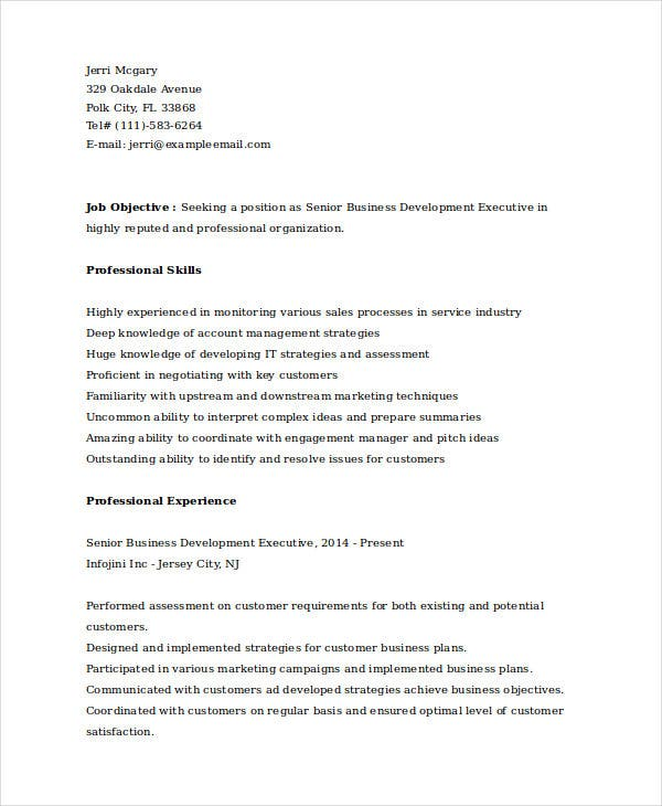 senior business development executive resume