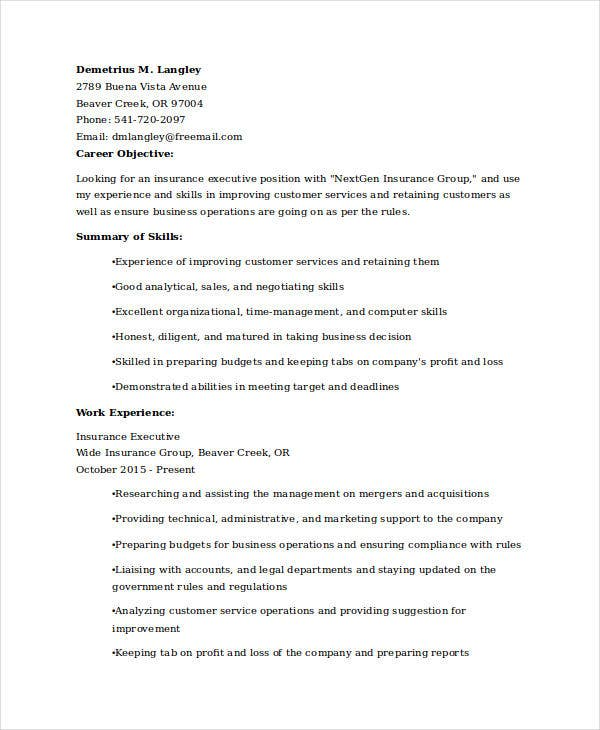 insurance executive resume sample1