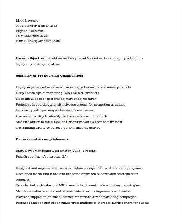 entry level marketing coordinator resume9