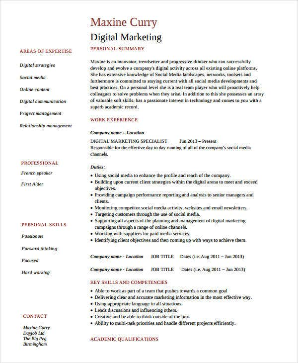 Modern Marketing Resumes   Free Word Pdf Documents Download