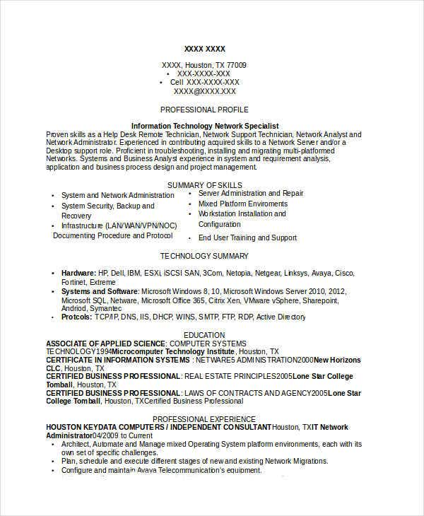 it network administrator - Professional It Resume