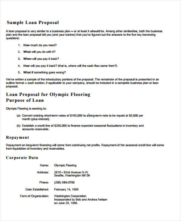 business loan proposal plan