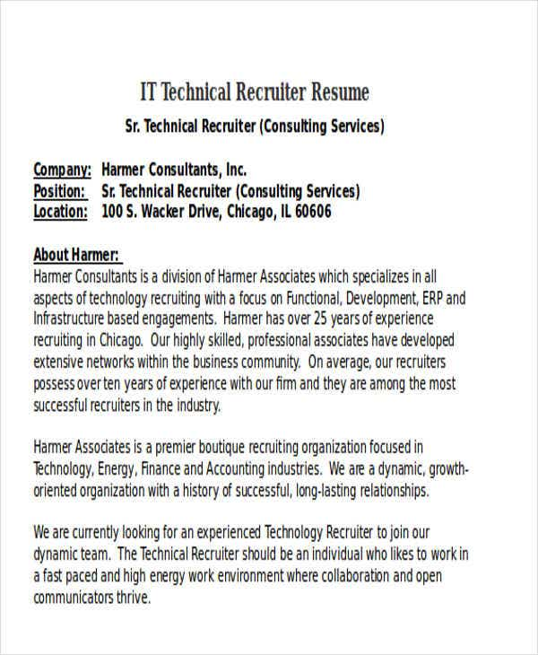 it technical recruiter resume5