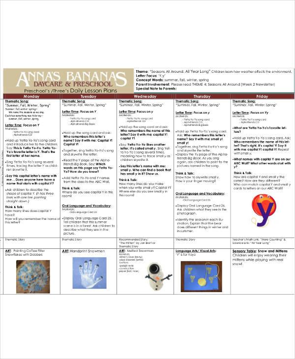preschool daily lesson plan