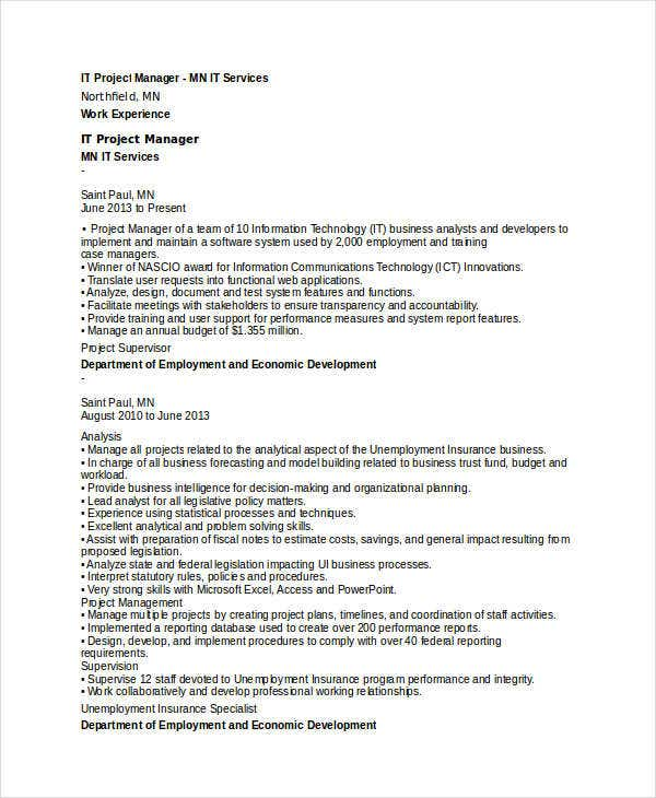 professional it resume templates 20 free word pdf