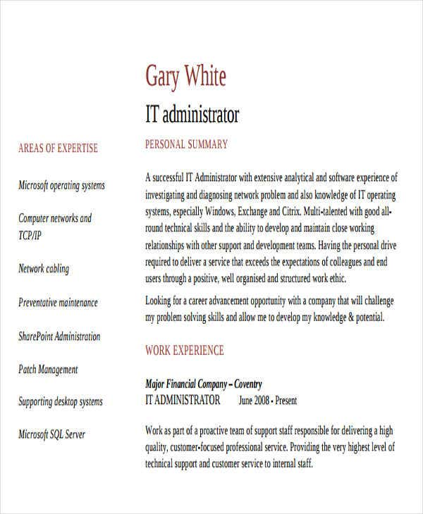 it server administrator resume1