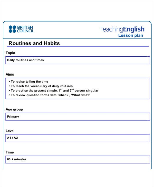 40 lesson plan templates free premium templates for Efl lesson plan template