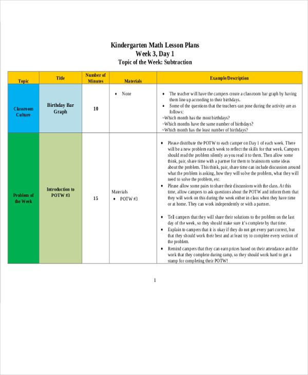 kindergarten math lesson plan1