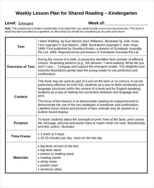 40 lesson plan templates free premium templates for Lesson plan template for kindergarten teacher