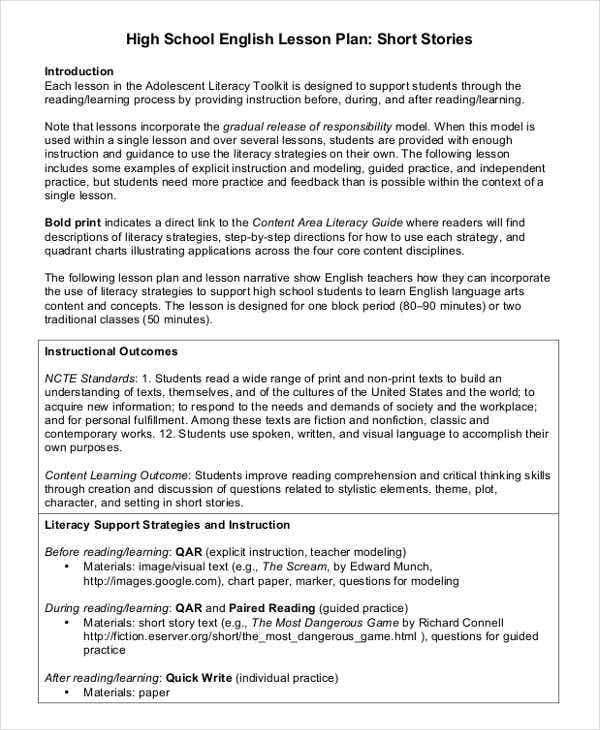 40 lesson plan templates free premium templates high school english lesson plan pronofoot35fo Image collections