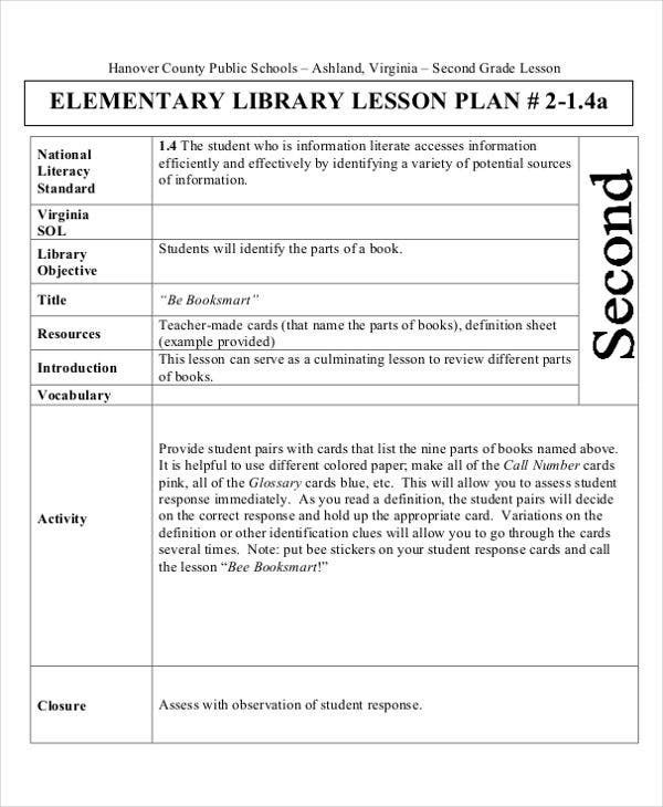 elementary library lesson plan