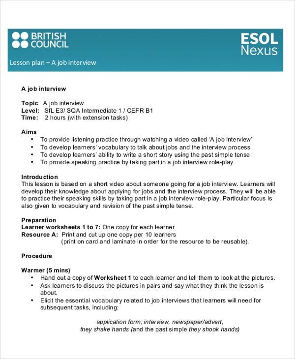 40 lesson plan templates free premium templates job interview lesson plan esolitishcouncil details file format pronofoot35fo Images