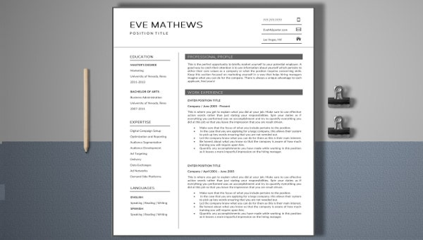 modern marketing resume