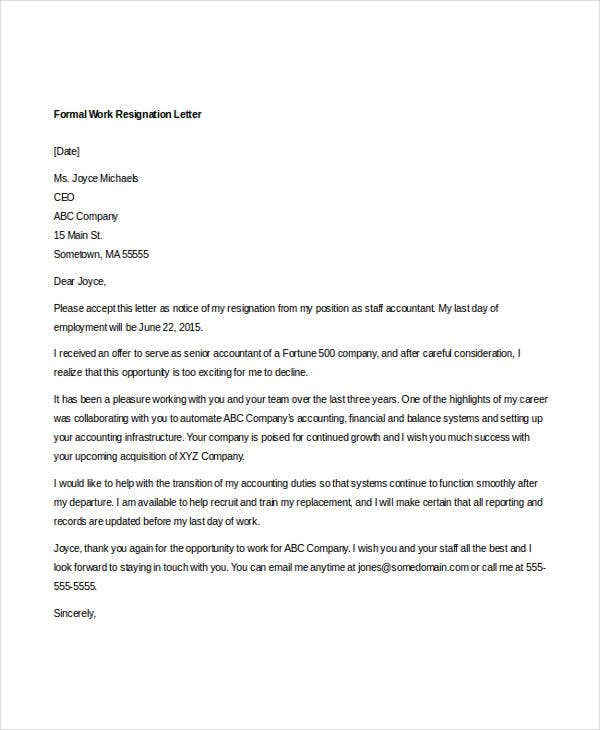 formal work resignation letter