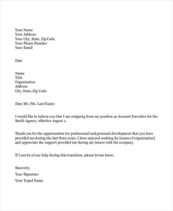 sample work resignation letter