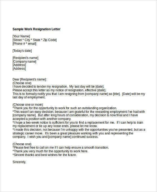 work resignation letter in doc