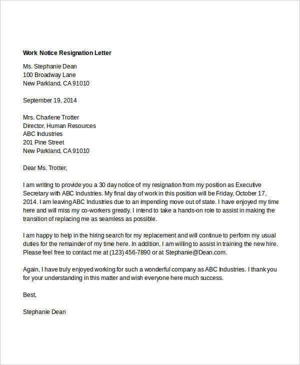 work notice resignation letter