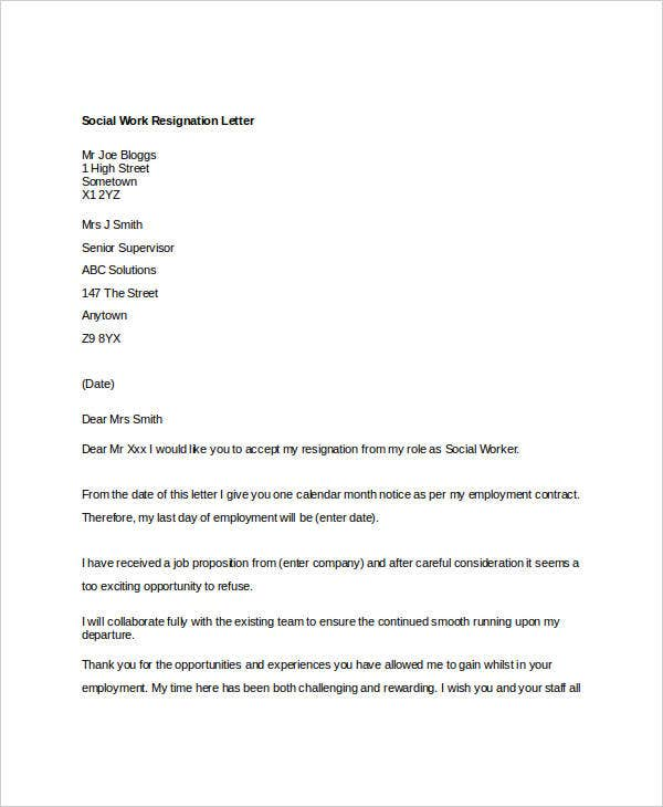 10 Work Resignation Letter Free Word Pdf Documents