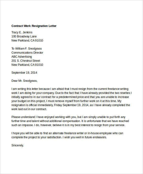 contract work resignation letter