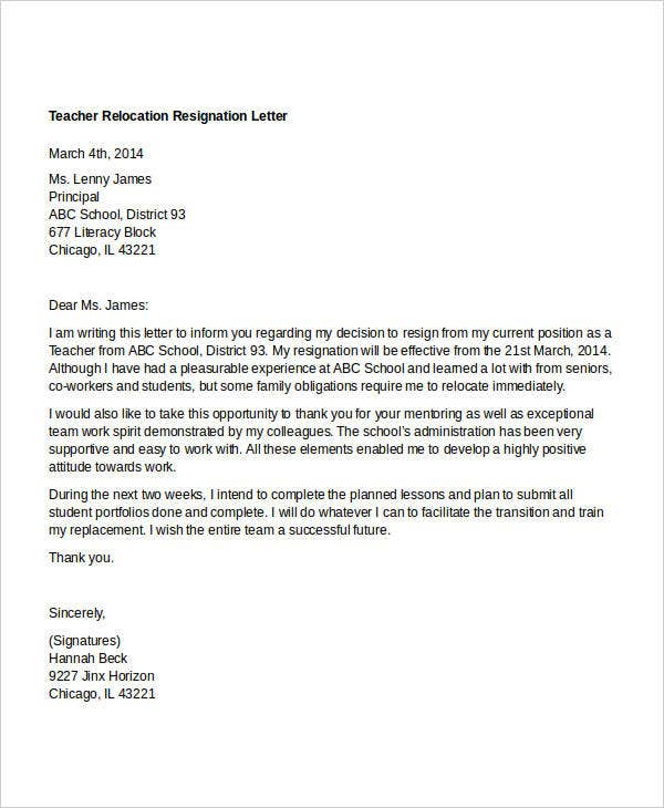 10 relocation resignation letter free word pdf document download teacher relocation resignation letter in pdf expocarfo Choice Image