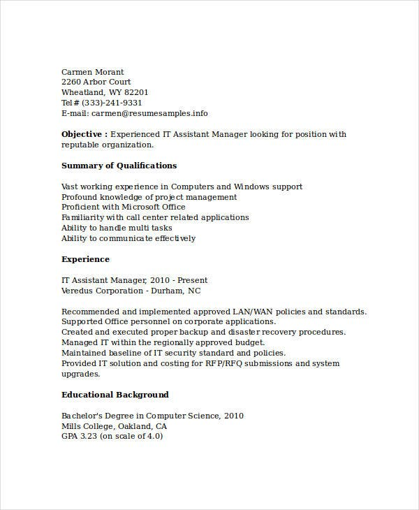 assistant it manager resume9