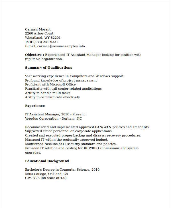 20 Professional It Resume Templates Pdf Doc Free Premium