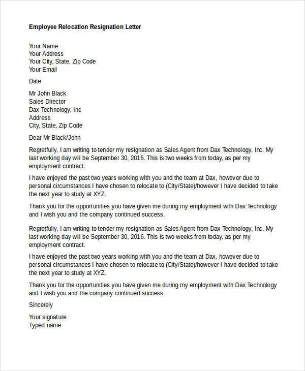 employee relocation resignation letter