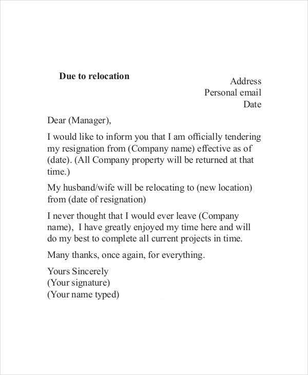 10+ Relocation Resignation Lette - Free Word, PDF Document ...