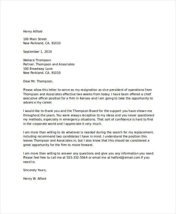 standard business resignation letter