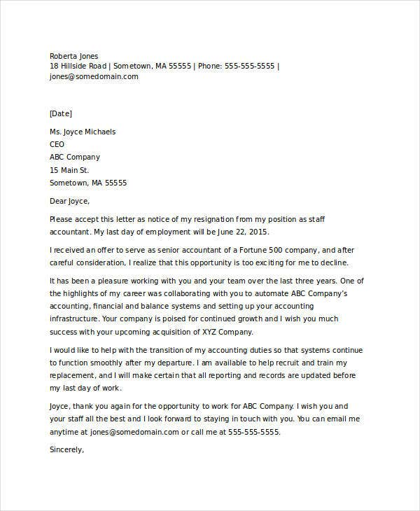 Job resignation letter templates