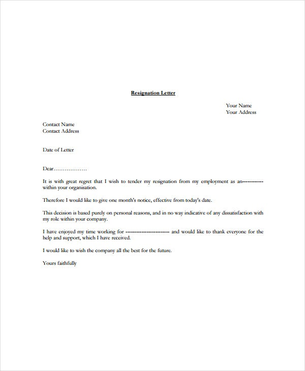 9 Standard Resignation Letter Template Free Sample