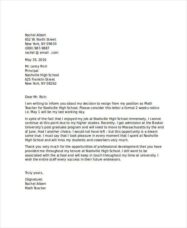 9+ Standard Resignation Letter Template - Free Sample, Example ...