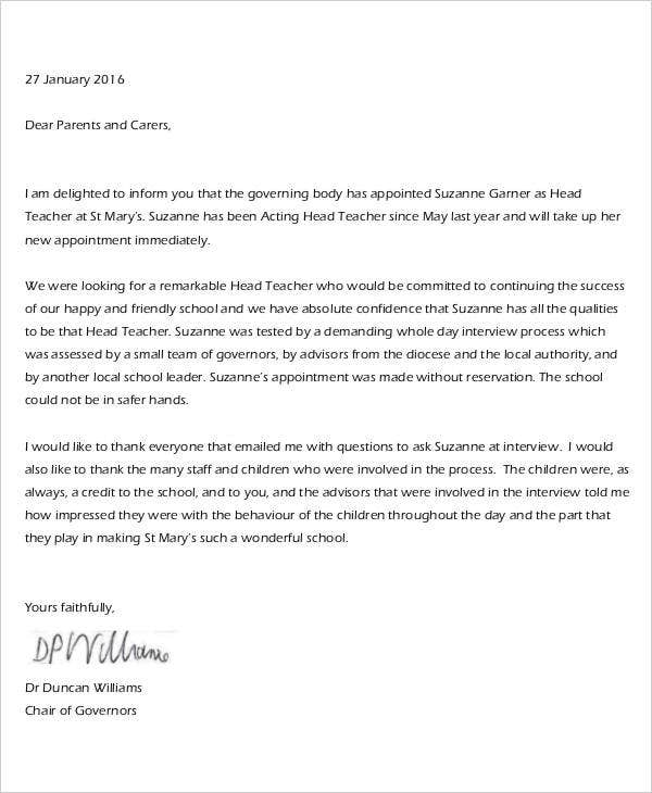 music teacher appointment letter
