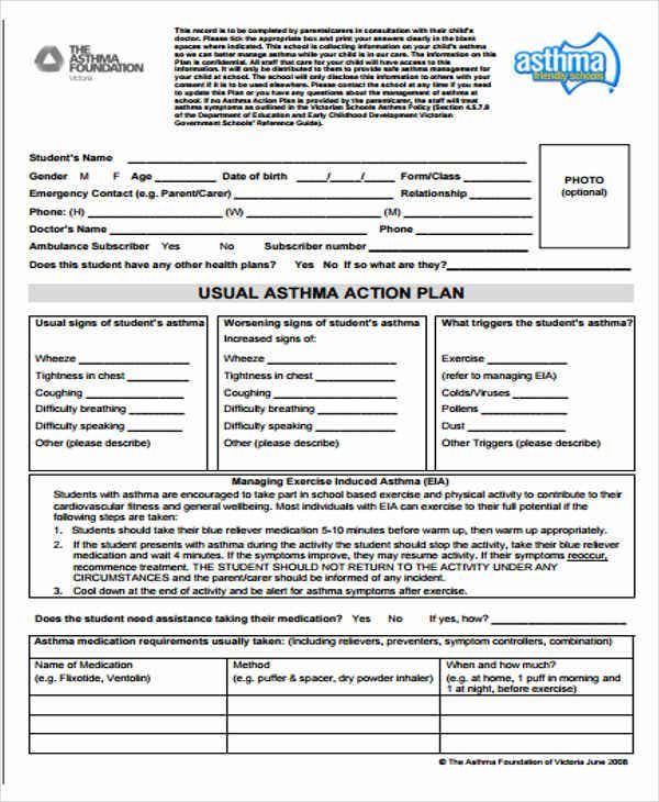 school asthma management plan