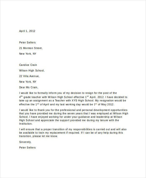13 short resignation letter templates free word pdf format short resignation letter for teacher expocarfo Choice Image