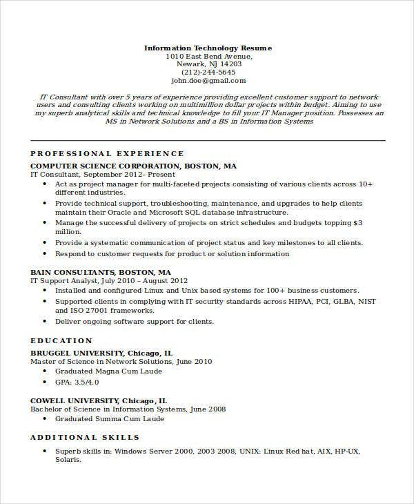 Basic It Resume Templates   Free Word Pdf Documents Download