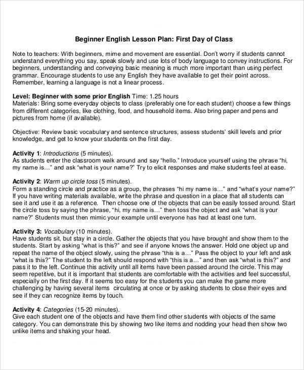 beginner english lesson plan