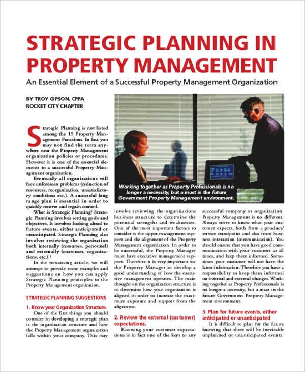 strategic property management plan